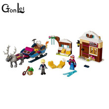 GonLeI 205pcs Princess Anna And Kristoff's Sleigh Model Set SY Building Blocks Gifts Toys Compatible elieds 41066(China)