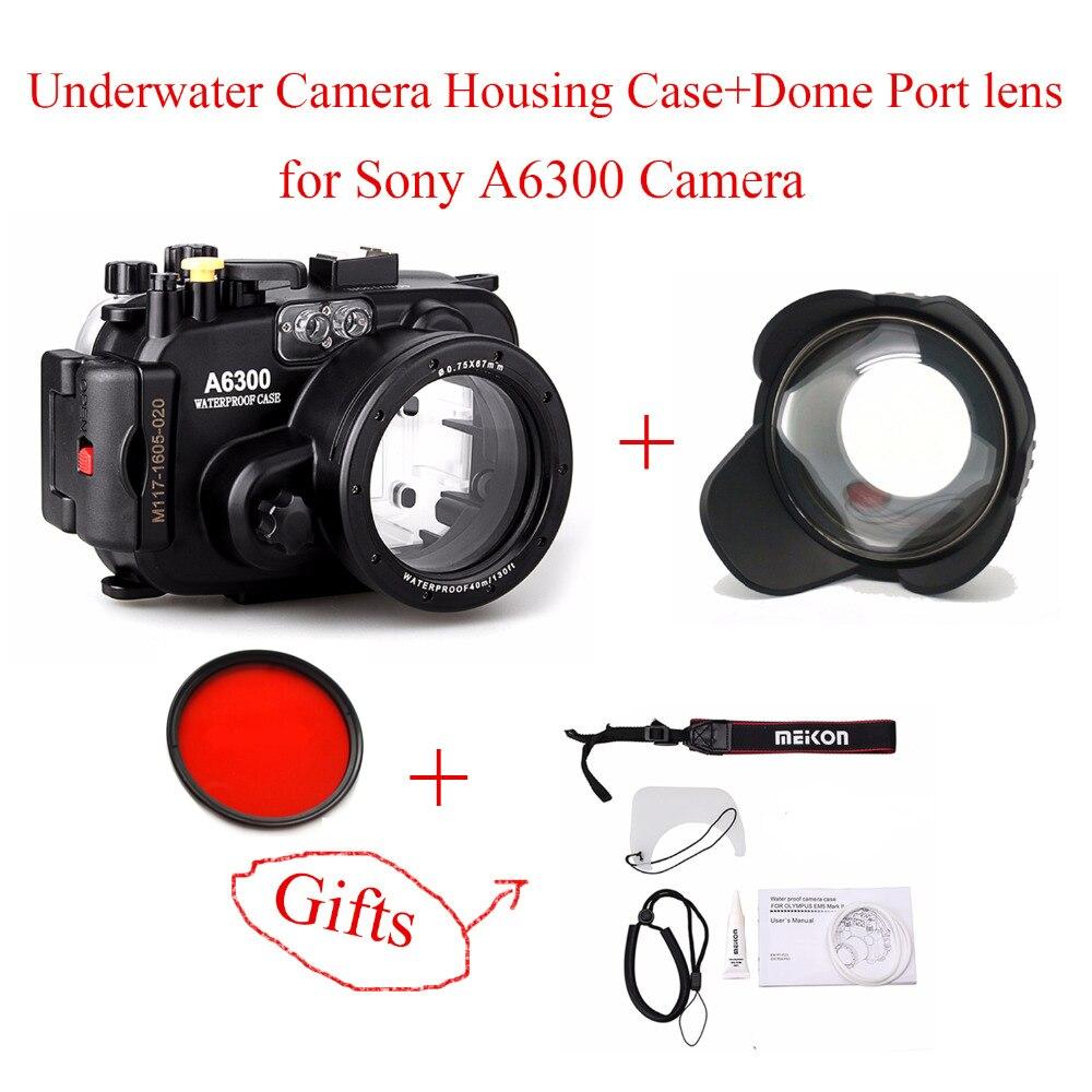 Meikon 40 m/130ft Étanche Caméra Sous-Marine Cas de Logement pour Sony A6300, caméra Étanche Sacs Cas + Dôme Port lentille pour A6300