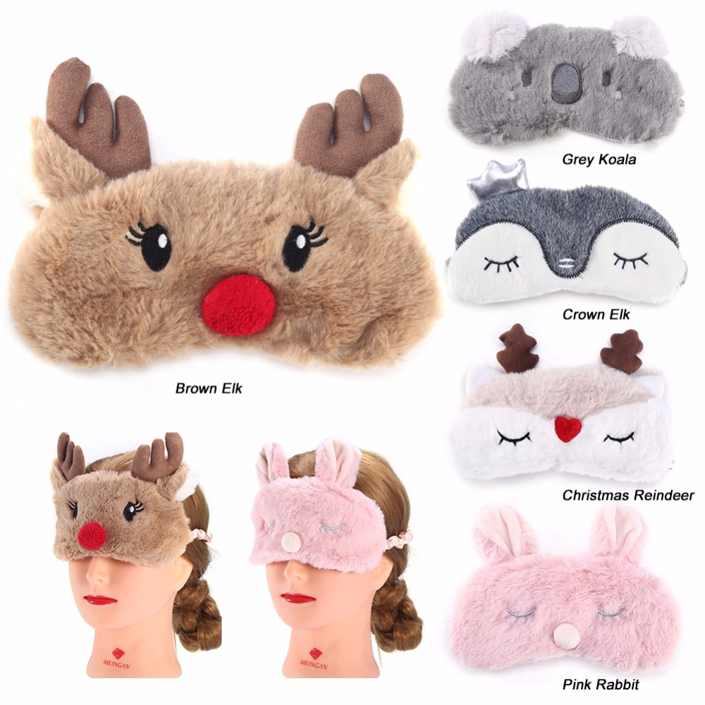 Cute Animal Eye Cover Sleeping Mask Eyepatch Bandage Blindfold Christmas Deer Winter Cartoon Nap Eye Shade Plush Sleeping Mask crown plush eye mask