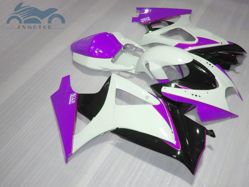 ABS plastic Fairing <font><b>kits</b></font> for <font><b>Suzuki</b></font> GSXR 1000 <font><b>GSXR1000</b></font> 2007 2008 K7 <font><b>K8</b></font> aftermarket street fairings <font><b>kit</b></font> 07 08 purple white K78 image