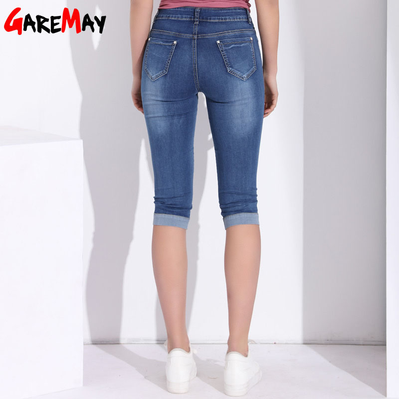 GAREMAY Plus Size Skinny Capris Jeans Woman Female Stretch Knee Length Denim Shorts Jeans Pants Women With High Waist Summer
