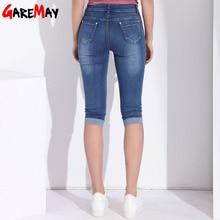 GAREMAY Plus Size Skinny Capris Jeans Woman Female Stretch Knee Length Denim Shorts Jeans MT