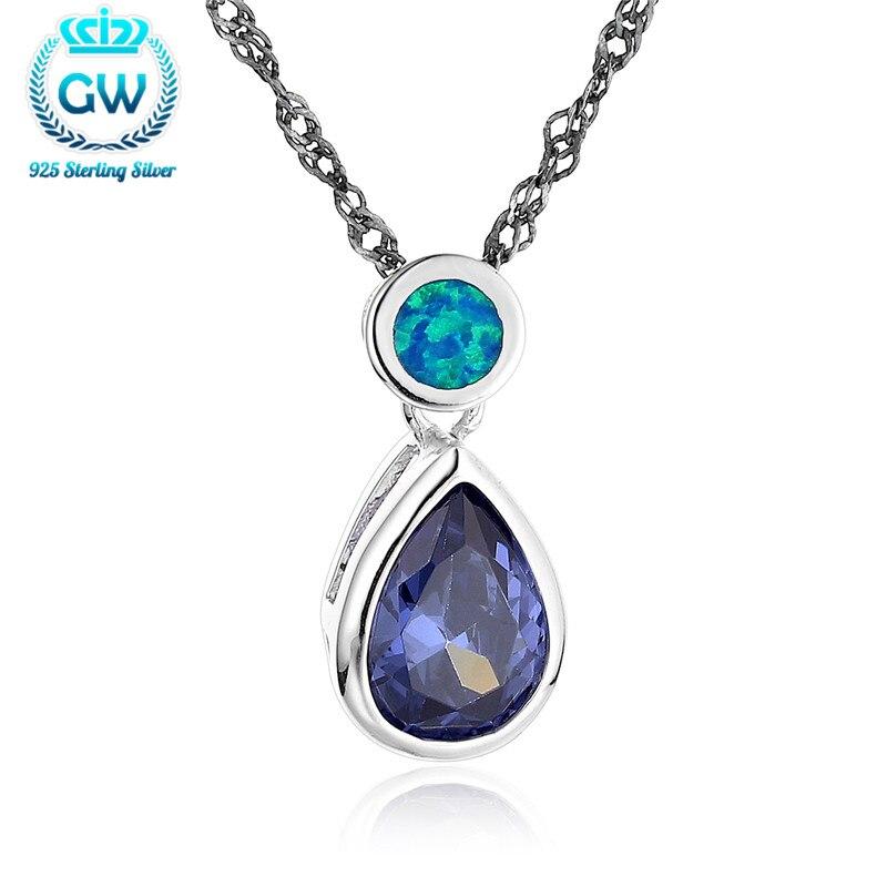 Nouveau argent 925 opale pendentifs goutte d'eau pierre pendentif pour chaînes dames marque Gw bijoux Fp464-90