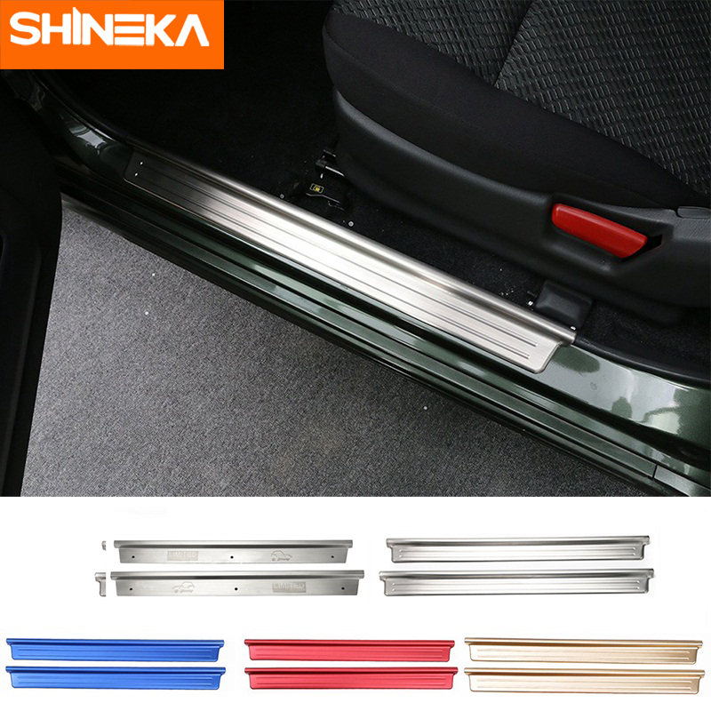 SHINEKA Stainless Steel Door Sill Plates Entry Guard Cover Trim Strips Sticker for Suzuki Jimny 2007