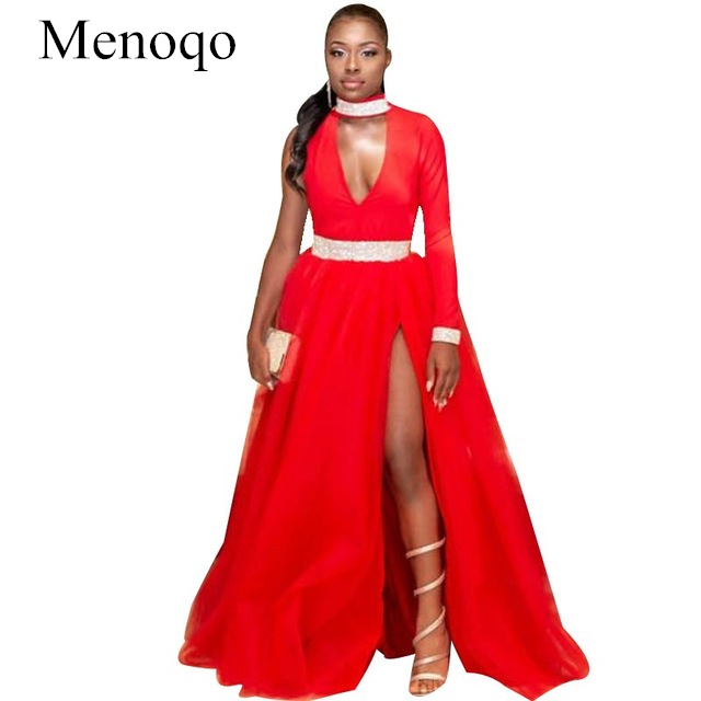 Long   Prom     Dresses   2019 A-line High Neck Single Long Sleeves Red Party   Dress   For Black Girls Crystal Strass Waistband Tulle Gown
