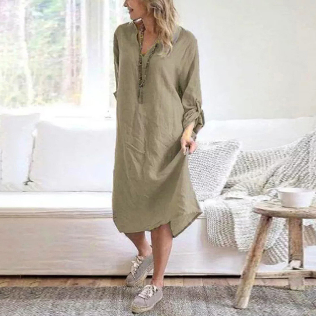Fashion Women Long Sleeve V-Neck Cotton Linen Loose Casual Long Dress summer boho dress vestidos robe longue femme ete 2020