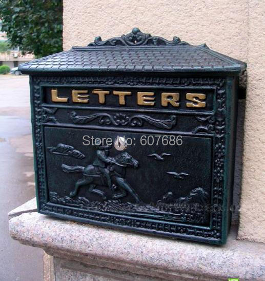 Rural Cast Iron Mail Box Mailbox Antique Metal Wall Mount Postbox Post Letters Box Home Garden Outdoor Decor Country Free Ship