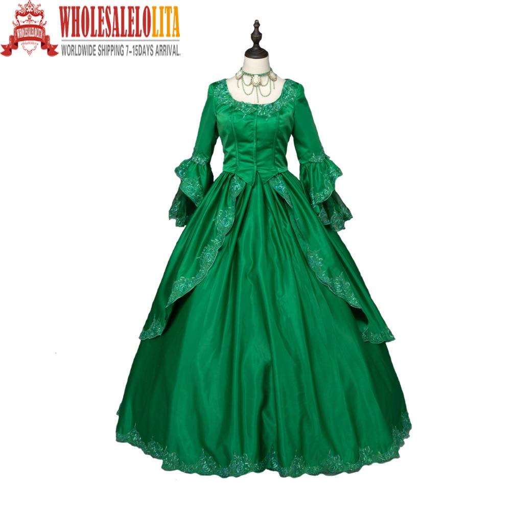 Vert Marie Antoinette coloniale brocart période robe robe de bal Steampunk vêtements Costumes de fête vêtements