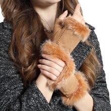 NEW 2019 Genuine Leather Fingerless Women Gloves Female Elegant Rabbit Hair Half Finger Suede Sheepskin 3863