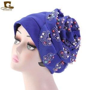 Image 5 - Fashion Women Luxury Muslim Hijab Beaded King Flower Turban Headwrap Chemo Turban Ladies Bandanas Hair Accessories