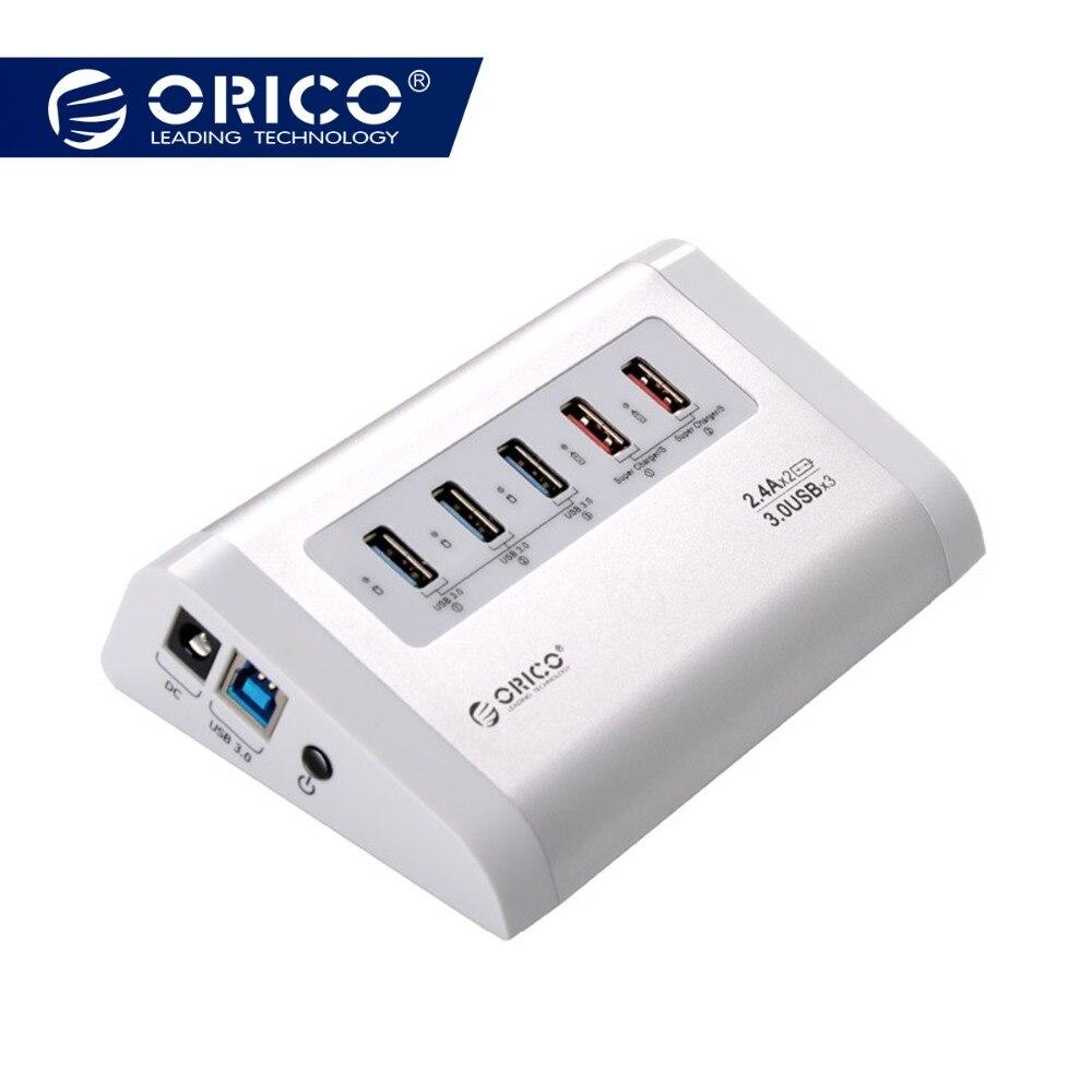 ORICO USB3.0 HUB 3 порта SuperSpeed с 2 USB гнездо зарядки Мощность адаптер 5 Гбит сплиттер ЕС США Разъем для мобильного телефона Tablet