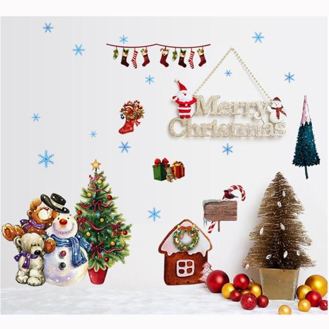 Stickers My House Santa Claus Christmas Glass Windows Transparent Film  Removable Livingroom Decoration Drop Shipping 17SEP21