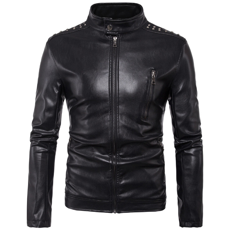 New Brand Leather Jackets Men Rivet Decoration Handsome Motorcycle Leather Jackets Fashion Zippers Leather Jacket Male 5XL