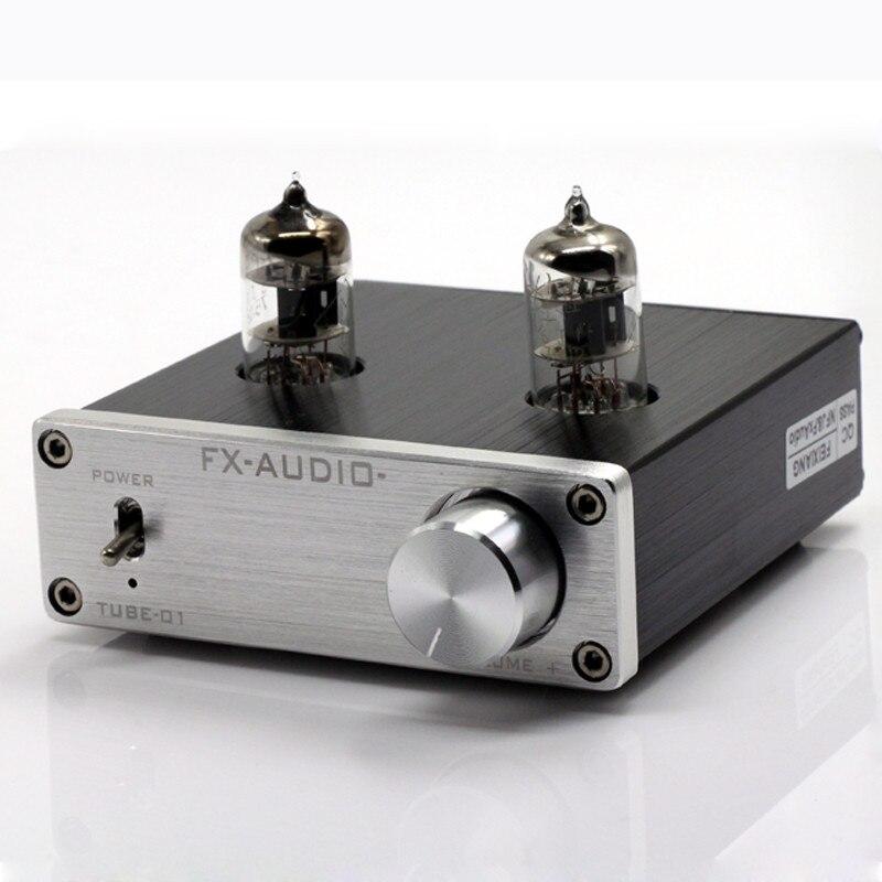 Купить с кэшбэком 2017 New FX-AUDIO TUBE-01 Mini Audio Preamps Tube Amplifier Buffer 6J1 HIFI DAC Audio Pre amplifier DC12V/1A Red LED Tube Lamps