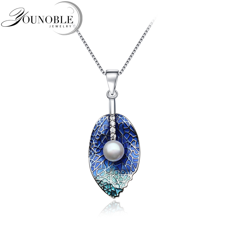 Genuine 925 Sterling Silver Natural Pearl Pendant Necklace ,freshwater Pearl Necklace Jewelry For Women