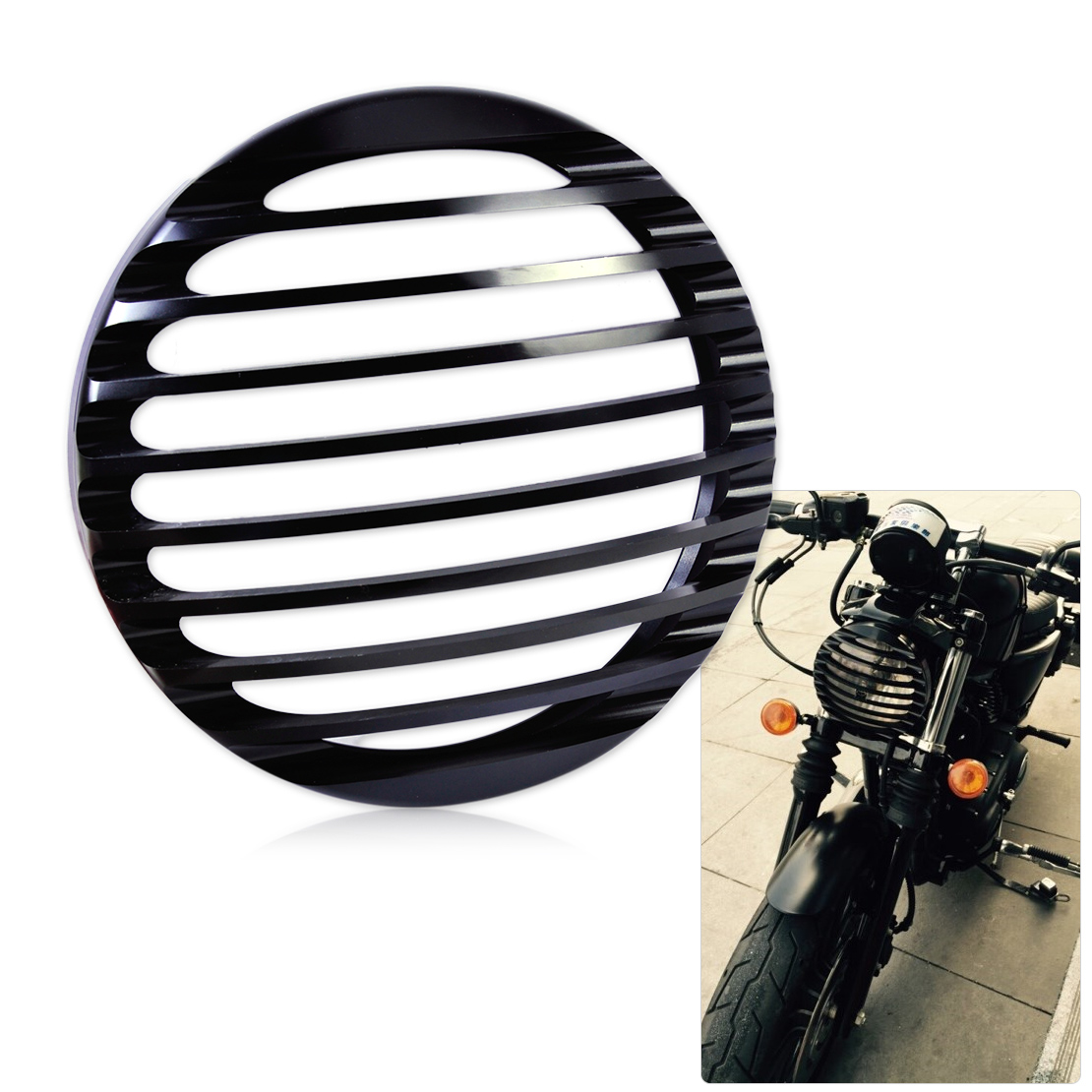 DWCX Headlight Grill Cover for Harley Davidson Sportster XL883 / XL1200 2004 2005 2006 2007 2008 2009 2010 2011 2012 2013 2014 motorcycle aluminum headlight grill cover case 5 3 4 black for harley xl883 04 05 2006 2007 2008 2009 2010 2011 2012 2013 2014