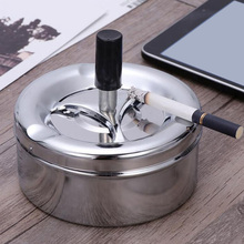 Smoking Accessories Stainless Steel Ashtray Round Push Down Cigarette Ashtray with Rotating Tray YU-Home 4477 extrusion switch stainless steel ashtray silver