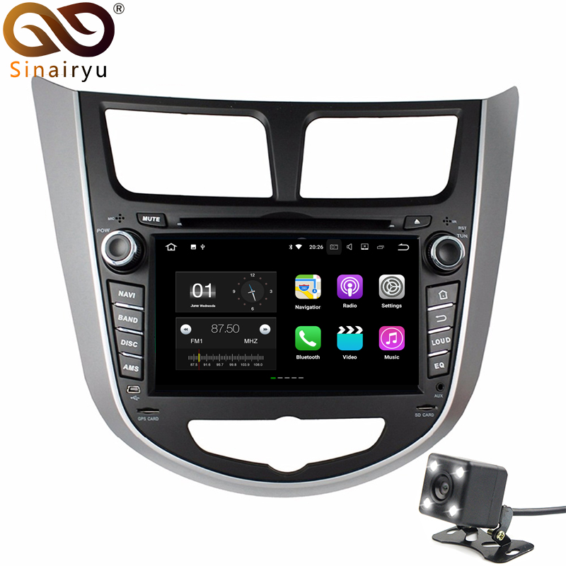 Sinairyu 2G RAM Android 7.1 Car DVD for HYUNDAI Verna Accent Solaris 2011 2012 Octa Core 16G ROM Radio GPS Navi Player Head Unit