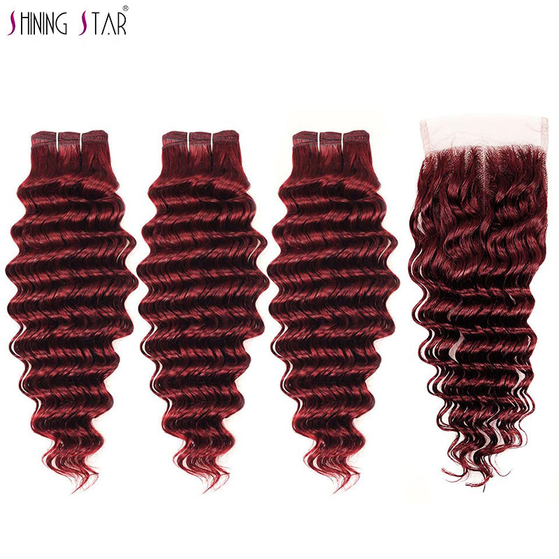 Brazilian Deep Wave 3 Bundles With Closure Bold Red 99j Burgundy Hair Bundles With Closure Shining