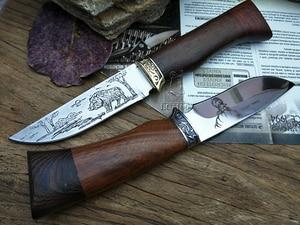 Image 2 - Couteau de chasse tactique rétro, petits couteaux fixes, tête en cuivre + manche en bois massif, couteau de survie, couteau de sauvetage portatif, de Camping