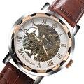 Sr. ORKINA Mujeres Elegantes Relojes Mecánicos de Lujo Número Romano Esqueleto de La Mano de viento Hombres Relojes de Pulsera Con Correa de Cuero Genuino