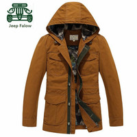 AFS JEEP Falow New Design Slim 100% Cotton Casual Hooded Jacket,Younger Man's Solid Cargo thickness Cotton Pure Cardigan Coat
