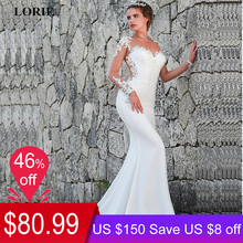 13b8d62c4 LORIE 2019 Mermaid Wedding Dresses Turkey Appliques Lace Custom Made Bridal  Dress Wedding Long sleeve Gown