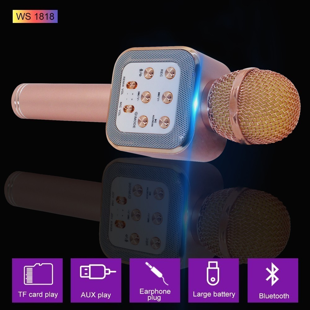 Bluetooth Karaoke Microphone 3 in 1 Multi Function Handheld Wireless Karaoke Machine for Kids Portable Mic Speaker Home Party in Microphones from Consumer Electronics
