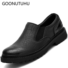 hot deal buy fashion men's shoes casual leather slip on loafers male 2019 new spring autumn shoe men gray black waterproof work shoes for men