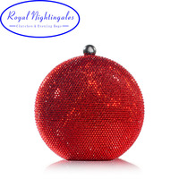 RN Round Red Hard Case Crystals Box Clutch Evening Bags For Matching Shoes And Womens Wedding