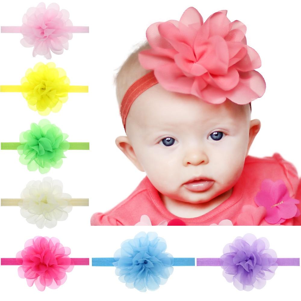 ᗑ Baby Girls Flower Headbands Big Flower With Elastic Headband For