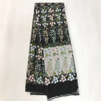2017 New Design embroidered French lace fabric Wholesale & retail African net lace fabric with flowers 5yards for wedding