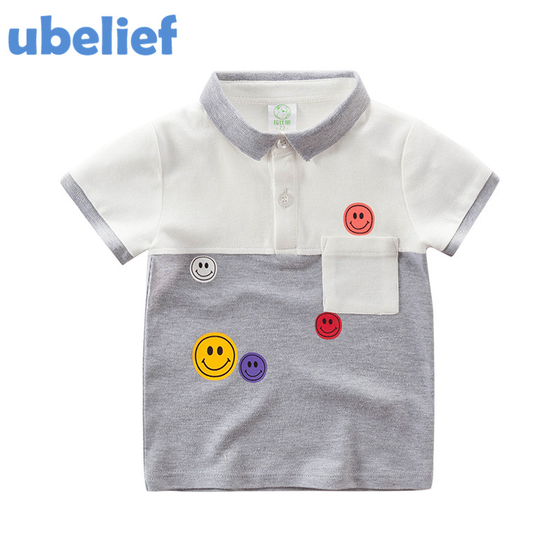 UBELIEF 2017 Summer polo sets baby Cartoon Smiling Face Patchwork Clothes Baby Girls kids polo shirts Clothing boy polo shirts