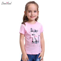 2017 Fashion Summer Children Brand Domeiland Clothing For Kids Girl Short Sleeve Print Cat Cotton Tee