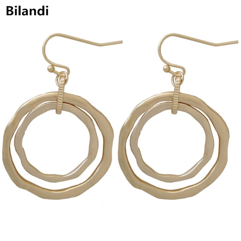 Wholesale Delicate Double Round Matte Plating Silver Gold Drop Earrings For Woman image
