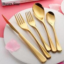 5 Pcs/set Pure Gold European Dinnerware Knife 304 Stainless Steel Western Cutlery Kitchen Food Tableware Dinner Flatware Sets