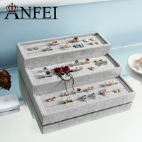 ANFEI New 3 Layer Tray Jewelry Display Stand Ice Velvet Earring Ring Display Holder For Women Box Case GD1711