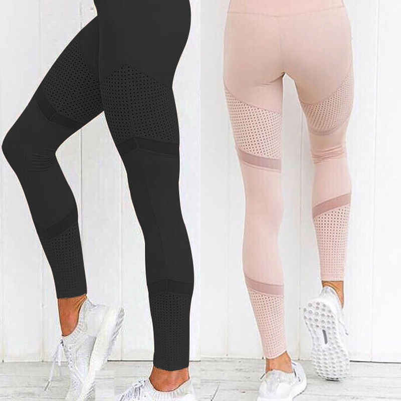 2019 Fashion High Waist Wanita Olahraga Yoga Latihan Kebugaran Gym Mesh Legging Celana Atletik Dua Warna