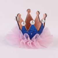 Cute Style Children Kids Beauty Headdress Shiny Pearl Crown Hairpin Lace Glitter Star Baby Girls Princess Headwear Hair Clip