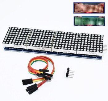 MAX7219 matriz de puntos Módulo de microcontrolador 4 en una exhibición con 5 P línea {con cable}