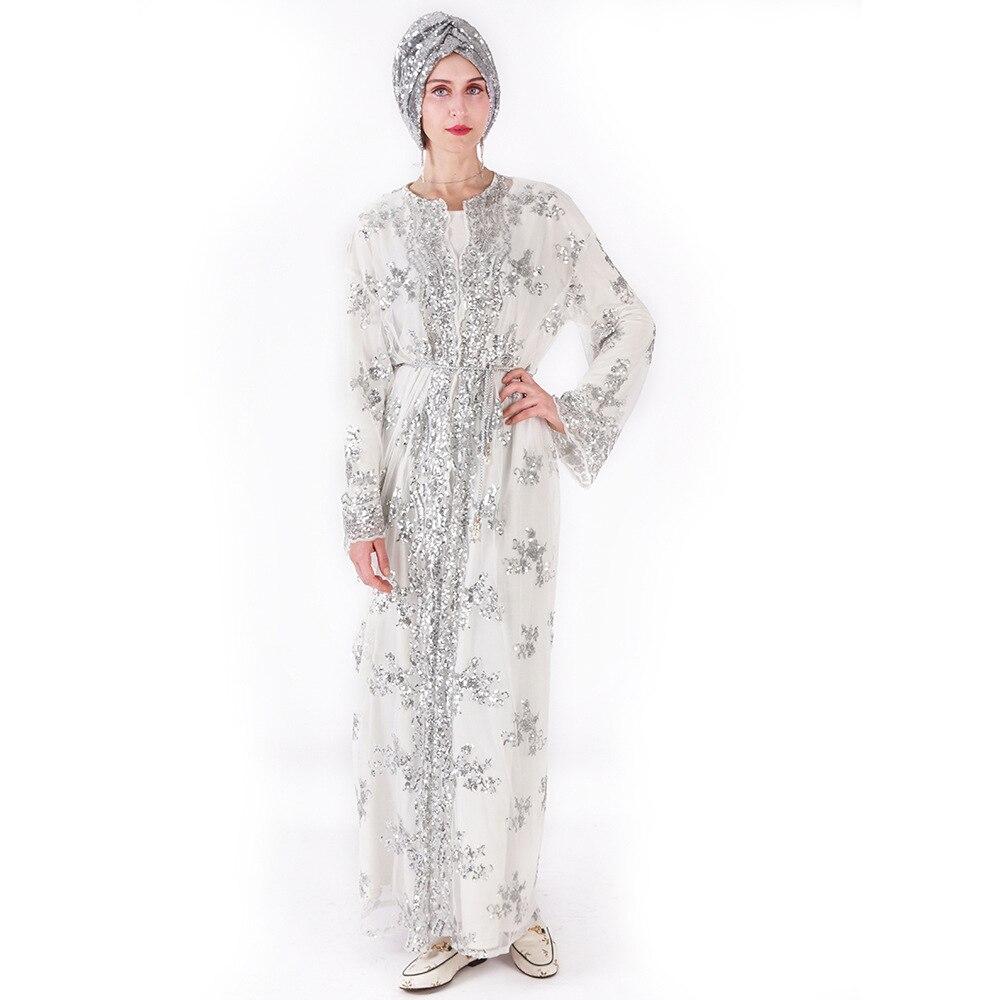 Offre spéciale femmes musulmanes longue jupe Cardigan de luxe Sequin broderie dentelle sans couture à l'extérieur pour Jilbab Abaya dubaï - 5