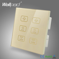 110V 250V LED Smart Dimmer Switch Wallpad Gold Glass Touch Panel 6 Buttons Dimmer Touch Control 2 Lamps Power Wall Switch