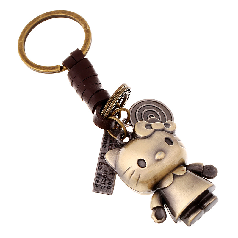 Kung fu jewelry co., LTD Knitting leather rope men and women couple key ring alloy cartoon kitten creative leather pendant