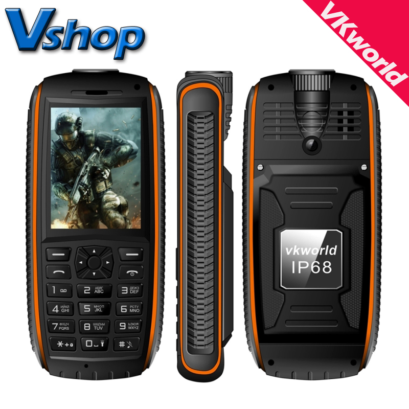 Original VKworld Stone V3 Max 5300mAh Mobile Phone IP68 Waterproof 2.4 inch 21 Russian Keyboard Dual SIM Cell Phone Flashlight