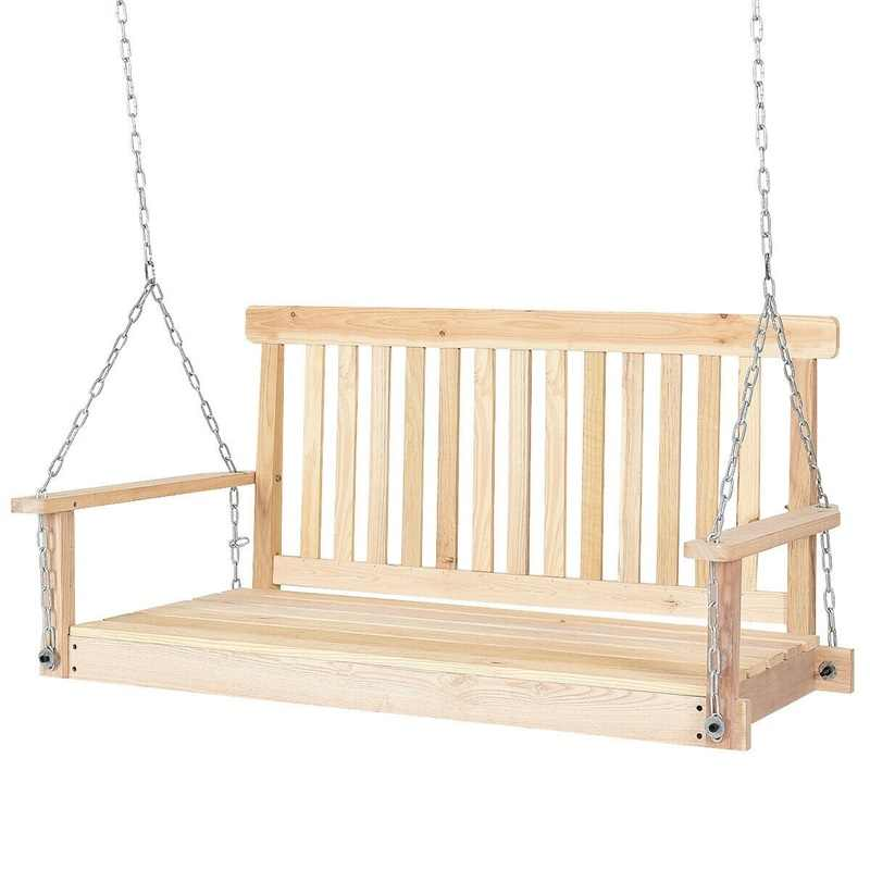 High Quality 4' Premium Fir Wood Garden Hanging Seat Chains Porch Swing Comfortably Curved Seat  Arm outdoor swing chair HW56356