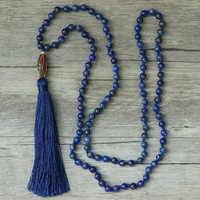 EDOTHALIA Moda 6 MM/8 MILÍMETROS Lapis Lazuli Naturais Contas de Pedra Colar de Mulheres Borlas Pingente de Nepal 108 Mala Colares bijoux Presente