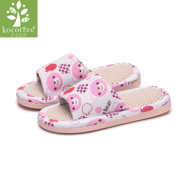 US $6.53 52% OFF|New Boys Girls Linen Home Slippers 2019 Spring Casual  Color Striped Breathable Flax Knit Indoor Shoe Children Bedroom Slippers-in  ...
