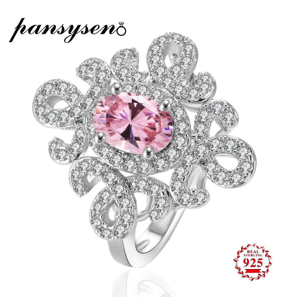 PANSYSEN Promotion 5*7mm Natural Gemstone Wedding Ring for Woman Solid 925 Silver Pink Yellow White Spinel Jewelry Bridal ringsPANSYSEN Promotion 5*7mm Natural Gemstone Wedding Ring for Woman Solid 925 Silver Pink Yellow White Spinel Jewelry Bridal rings