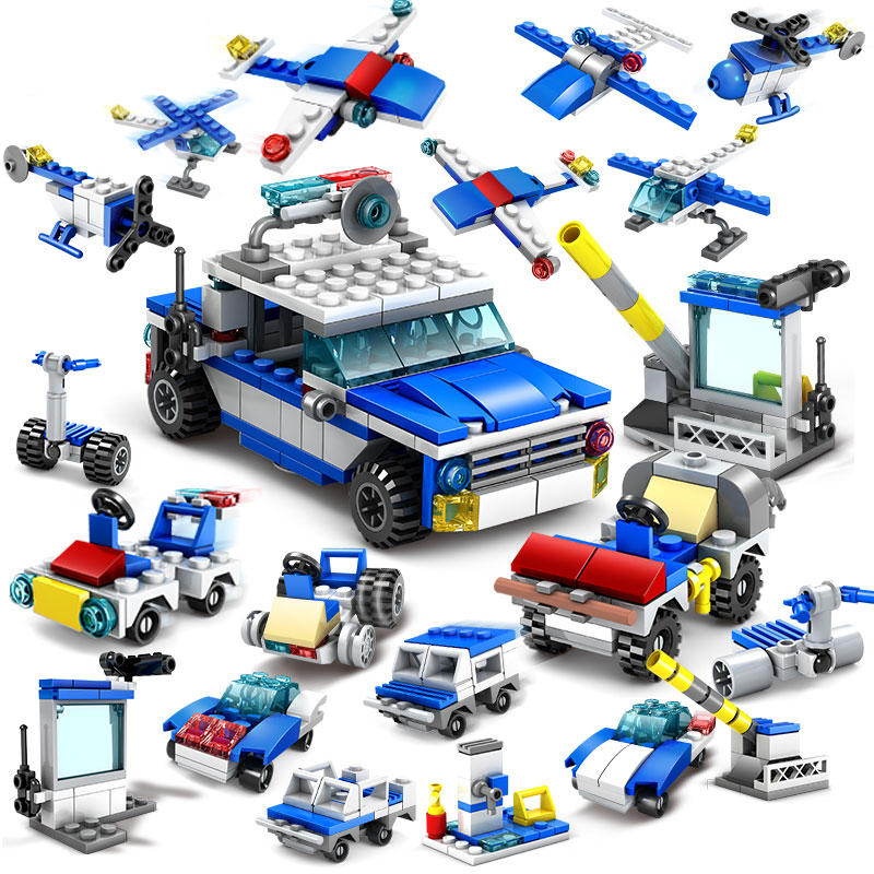 KAZI Toys 305pcs 16in1 Police Helicopter car Building Blocks Compatible Legoed City Police Construction Bricks Toys For children kazi 6726 police station building blocks helicopter boat model bricks toys compatible famous brand brinquedos birthday gift