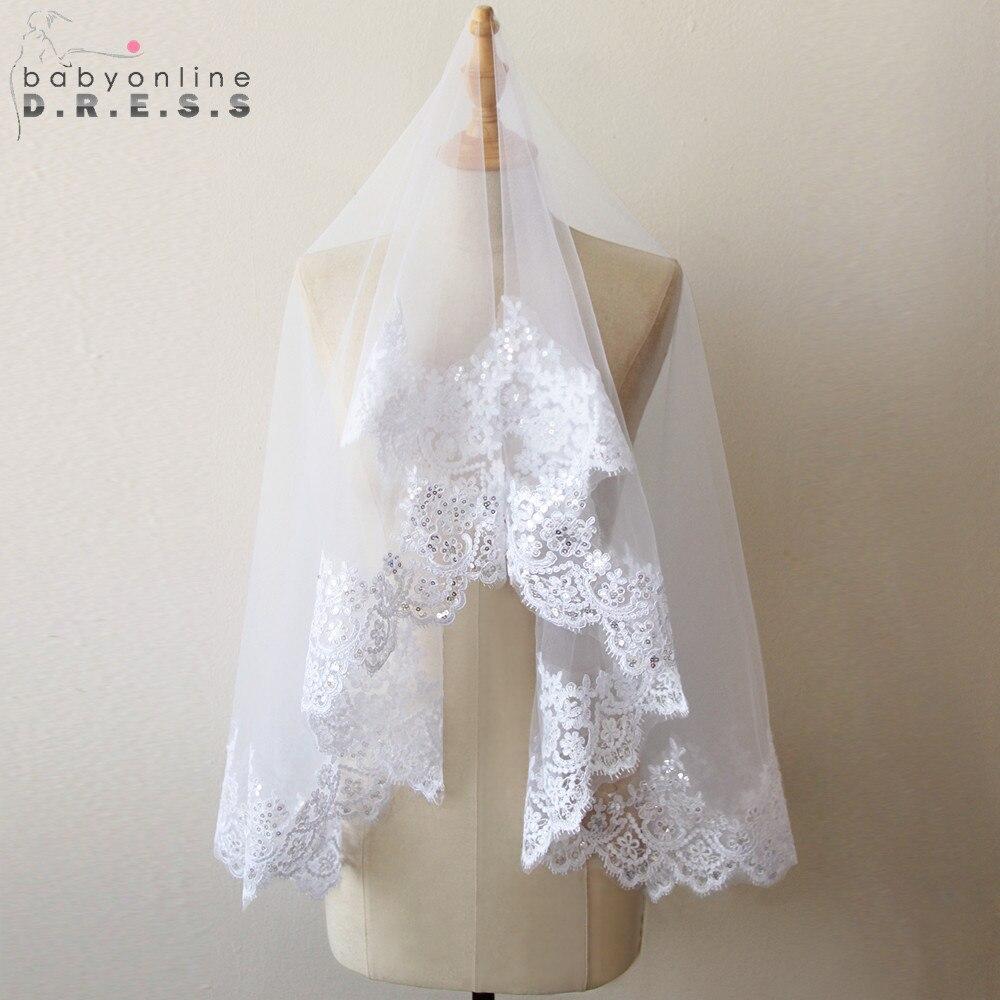 Wedding-Veil Short Voile Mariage Lace-Edge Tulle Ivory White One-Layer Cheap Velos-De-Noiva